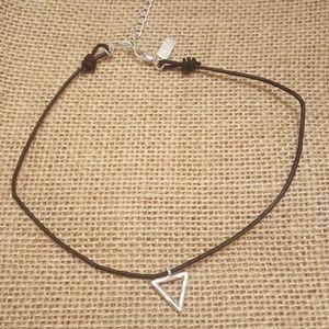 Jewelry - Triangle Charm Black Cord Choker